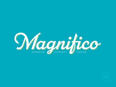 Magnifico Logo hook fishing water ocean boat typography type branding brand logo
