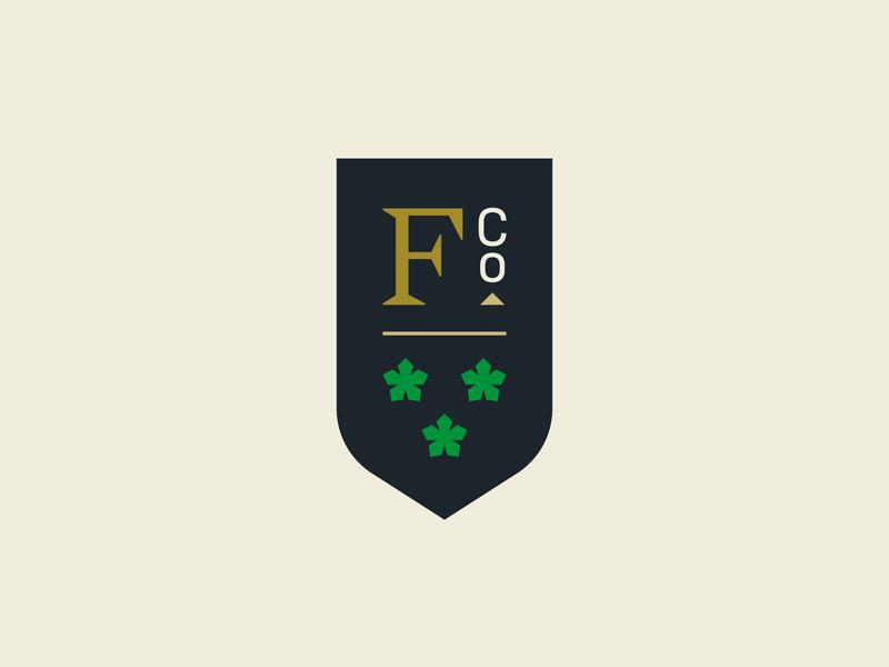 F Co. Crest shield collegiate brand logo branding badge crest
