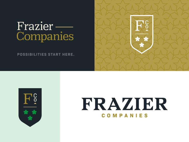 Frazier Co. Branding shield crest logo typography green badge identity branding brand