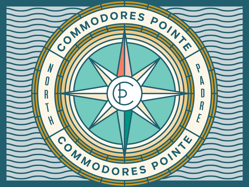 Commodores Pointe illustration branding badge logo island wave water ocean compass