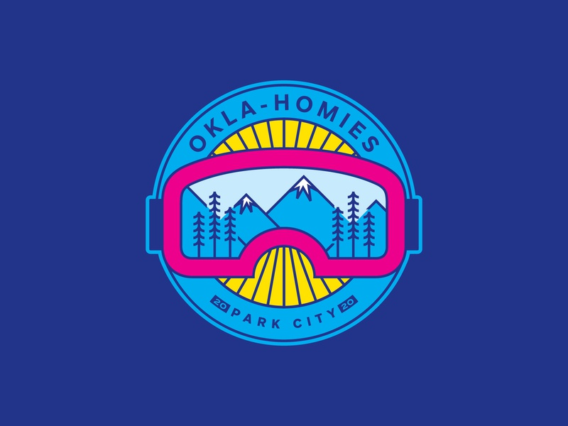 Okla-Homies line crest circle park utah trees logo mountains type badge