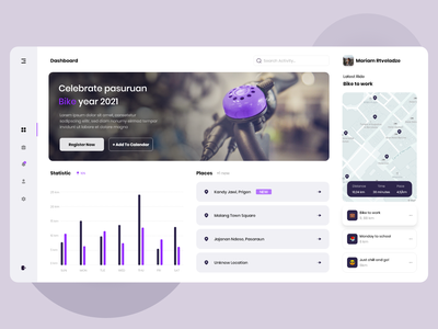 Cycling Dashboard bike ride cycling dashboard ui dashboad purple clean ui clean web design webdesign ui design