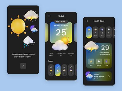 Weather App Design 3d icon weather app weather uxdesign uidesign clean ui clean ux ui design