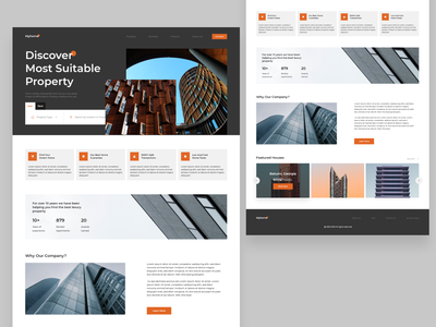 Real Estate Landing page clean ui ux uxdesign uidesign property design website design clean landing page ui real estate design