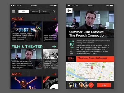 Event Listing (DailyUI 70) interface app phone design ui dailyui list event