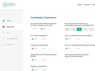 Profile form experience survey steps progress ux ui questions clinical form profile