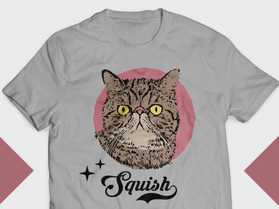 Squish - Cat Tshirt Design face style vintage squish cat tshirt