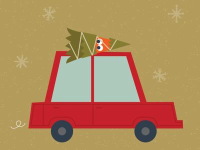Home for the holidays winter car tree christmas holidays home