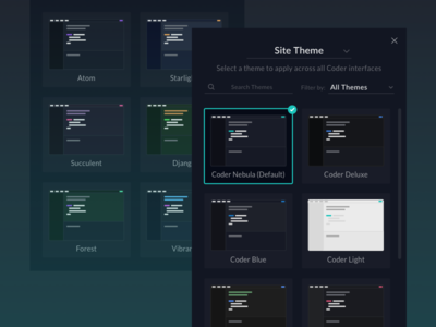 Coder's Theme Selector workspace color modal editor selector coder code theme interface ux ui