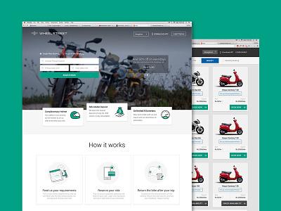 Website screen for Bike renting Portal renting website renting rent motorbike bike layout uiux ux ui website
