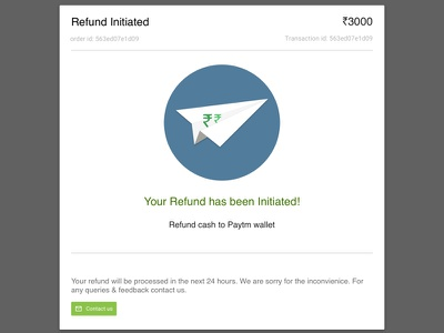 Refund Initiated Emailer refund email plane money