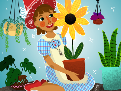 Flower witch plants illustration witch cute adobe illustrator