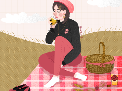 Enjoying a picnic with herself illustration pastel colors cute adobe illustrator