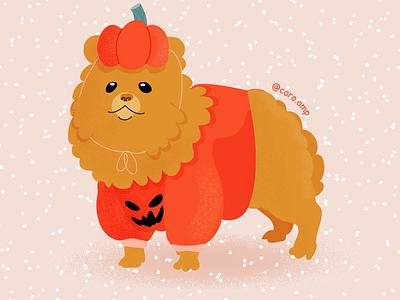 Pompkin halloween pomeranian childrens illustration dog children book illustration pastel colors cute illustration adobe illustrator