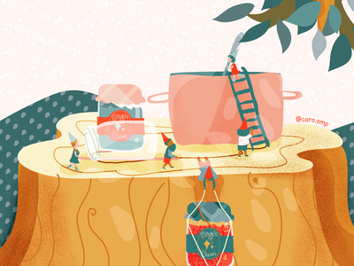 Jams and Jellies gnomes childrens illustration children book illustration cute pastel colors illustration adobe illustrator