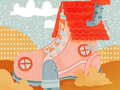 Little Shoe House childrens illustration children book illustration cute pastel colors illustration adobe illustrator