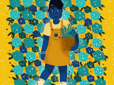 Flower Wall navy blue yellow cute illustration adobe illustrator