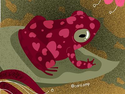 Little heart frog children book illustration cute illustration adobe illustrator