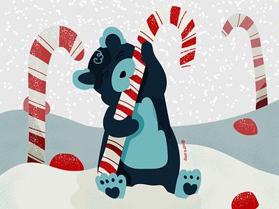 Bear in Sugarland holidays christmas childrens illustration children book illustration cute pastel colors illustration adobe illustrator