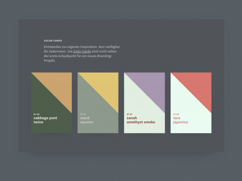 Color Cards dark ui fluid inspire colors dark webdesign minimal