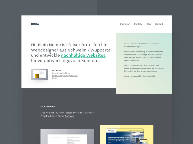 Büro Brux - Relaunch uiux homepage home teaser sustainability homepage design freelance layout german mnml green website portfolio website portfolio hero home screen sustainable minimal webdesign
