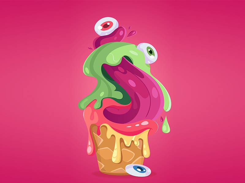 monsterice monster design icecream illustration vector ice flat