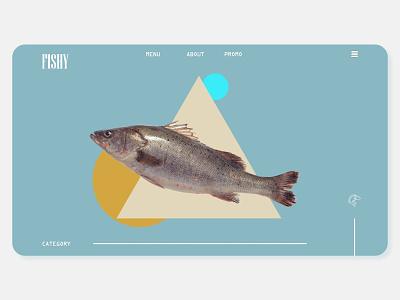 FISHY the Sardine Shopping Site. art visual drop shadow 3d art 3d design website minimal web typography ux branding ui webdesign uiux