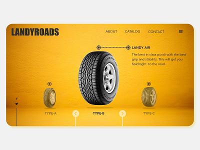 LANDYROADS website 3d visual design yellow tyre webdesign web visual ux ui typography minimal branding