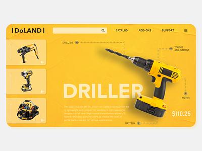 DOLAND DRII yellow figma hardware visual design product design 3d webdesign visual ux ui typography drop shadow branding