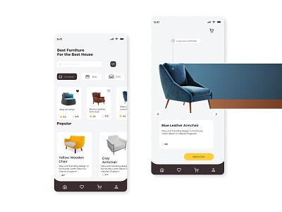 FURNITURE APP UI ecommerce shopping mobile ui design app furniture product design product 3d visual uiux typography minimal