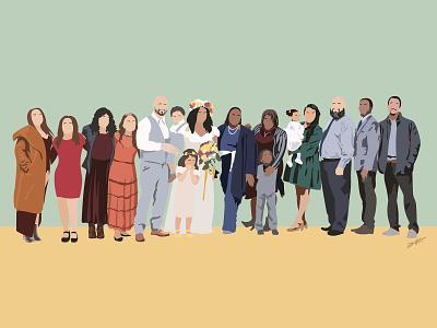 The Family iliketodraw drawdaily deltatangomike dtm digital drawing adobe vector illustration wedding family