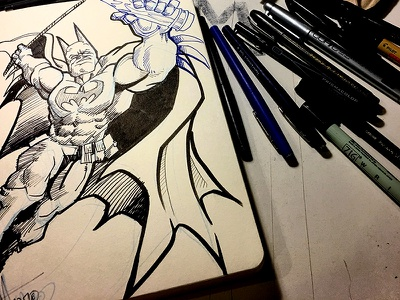 #Inktober 2017 batman paper drawings dtm 2017 inktober pen inks illustration art