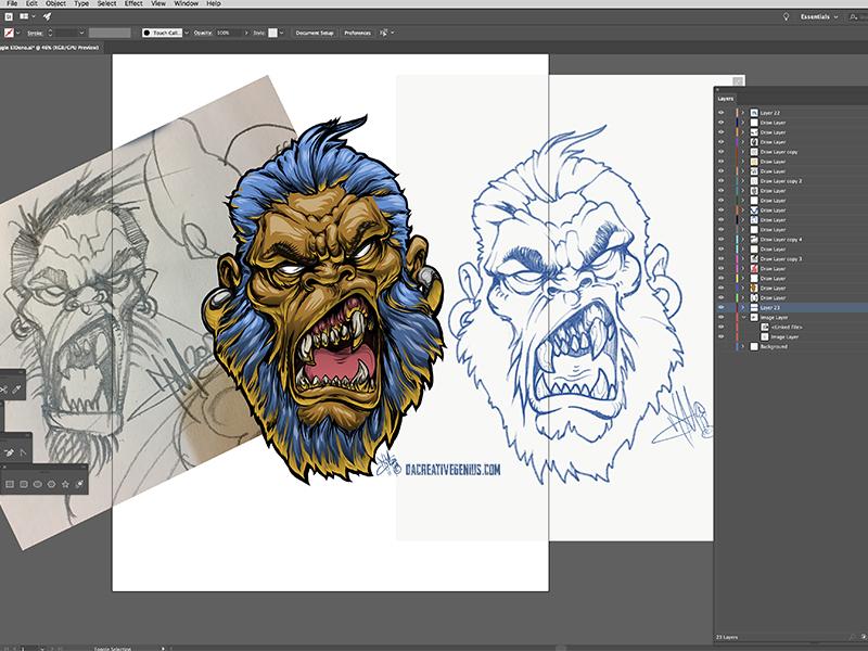 Denominator MeanMuggin adobe vector art gorilla illustration drawing