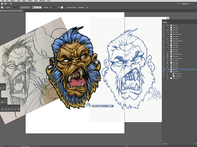 Denominator MeanMuggin adobe vector art gorilla illustration drawing