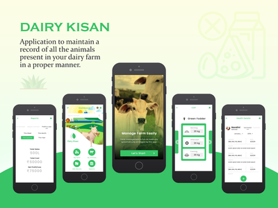 Dairy Kisan illustration app ux ui design