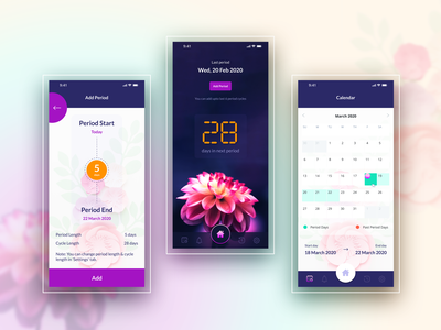 Girls Period Tracker Application Screens illustrator icon vector ui ux illustration design app