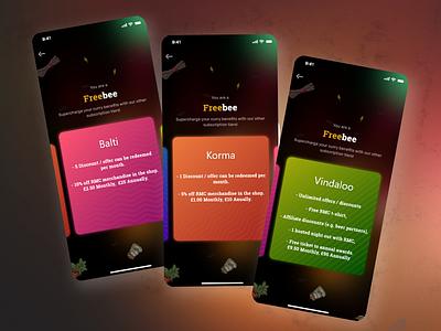 Food Application Subscription Screens vector illustrator icon ux ui illustration design app