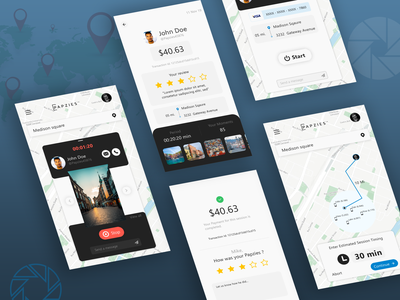 Photographer Hiring Application Design illustrator vector ux ui illustration design app