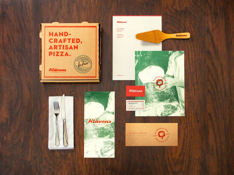 Klavon's Pizzeria & Pub identity stationery pizza box pizzeria pizza brand identity branding identity design