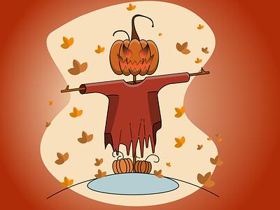 pumkin scarecrow design vector illustration