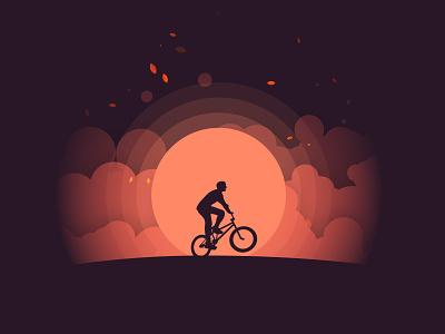 Sunset minimal vector design illustration