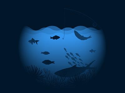 Underwater minimal flat vector design illustration