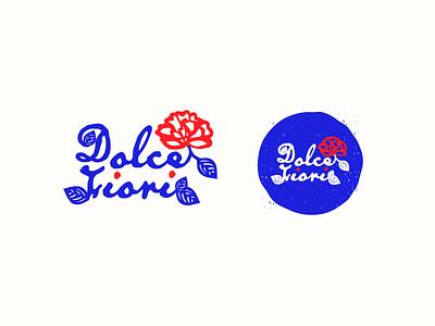 Dolce Fiori red blue flowers flower flower shop stamp texture illustrator vector logo rose