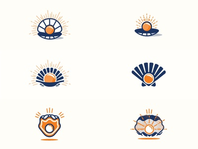 Seafood logo sea seafood mussel conch oyster clam vector logo