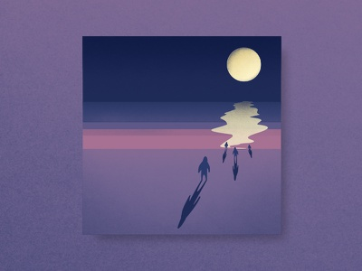 Work in Progress shadows moon beach vector illustration
