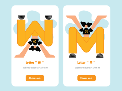 "letter ""W"" & ""M"" uidesign vector ui website web flat design app"
