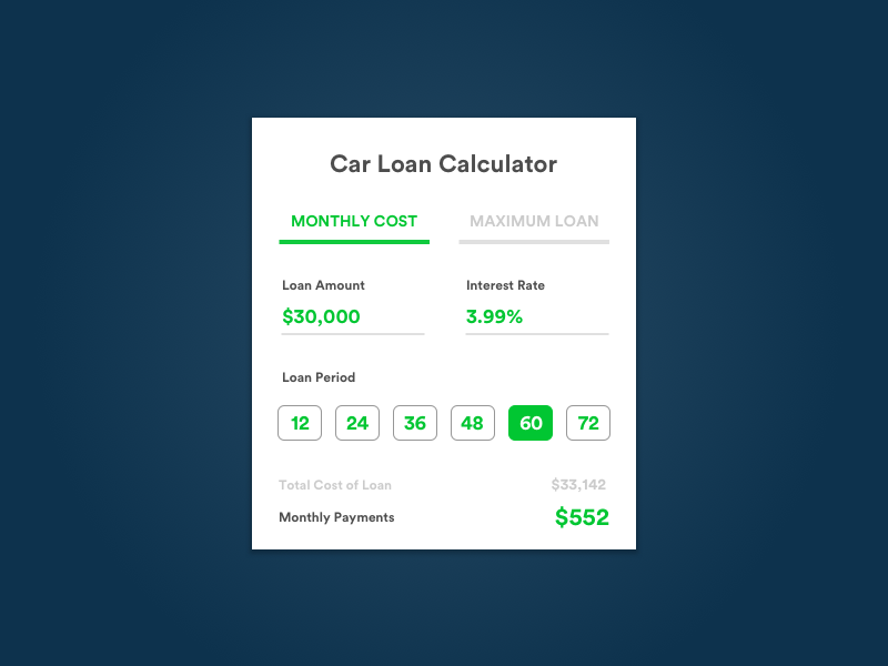 Daily UI #004 car loan calculator calculator daily ui daily ui challenge 04 004