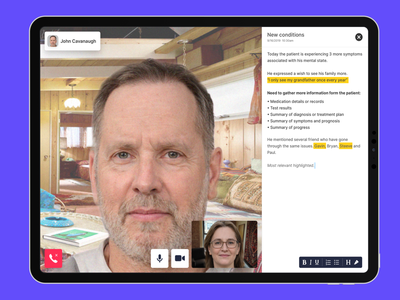 Patient Consultation call video note psychology health medical telemedicine