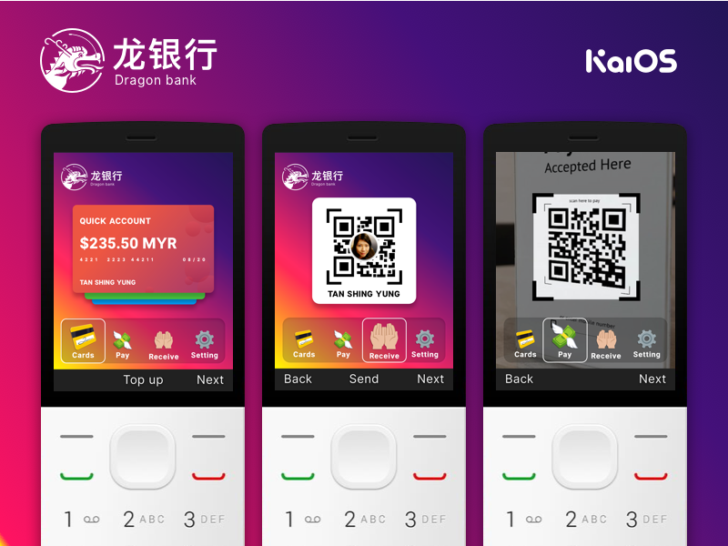 KaiOS Banking Concept cards qr payments bank button phone kaios