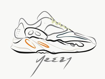 Yeezy 700 Wave Runner kanye west hand drawn typography sneakerhead lineart logotype orlando vectors logo design vector logo branding design illustration line art ipaddrawing ipad sneaker head sneakers yeezy